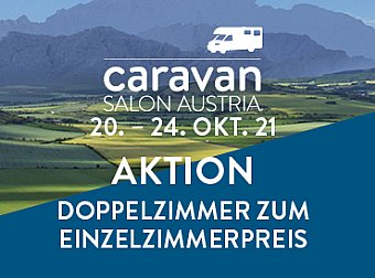 Hotel-Aktion beim Caravan Salon Austria 2021