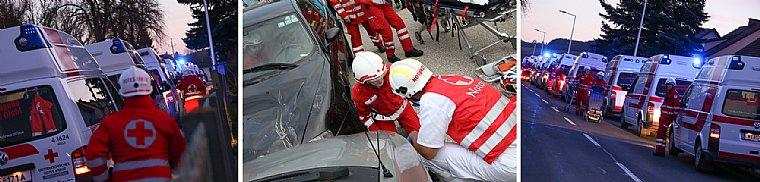 Gemeinsame Einsatzübung von Polizei, Feuerwehren und dem Roten Kreuz Wels